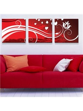 Abstract Flowers in White Line 3-Piece Crystal Film Art Wall Print