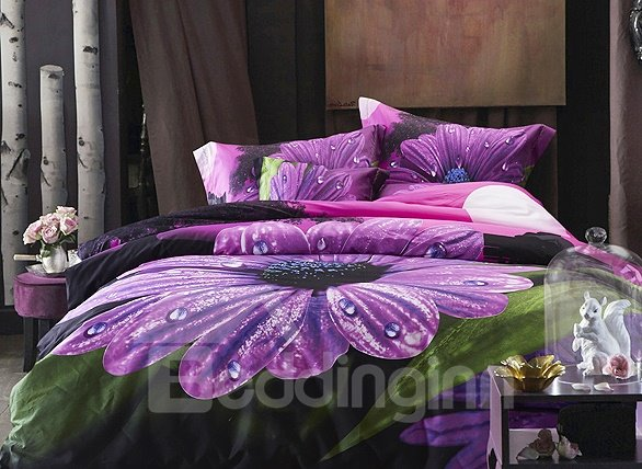 One Big Purple Flower Print 4-Piece Cotton Duvet Cover Sets