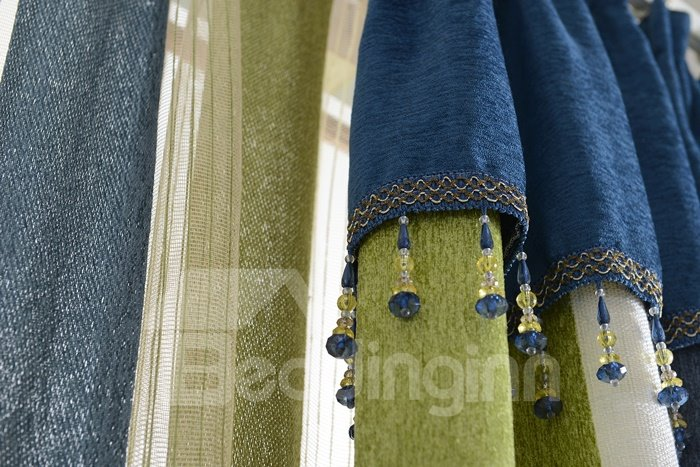 High Class Elegant Concise Green White Blue Chenille Grommet Top Curtain