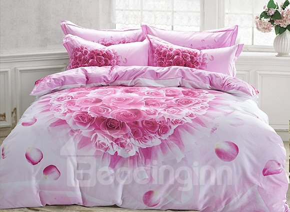 Heart Shaped Pink Rose Print 4-Piece Cotton Duvet Cover Sets