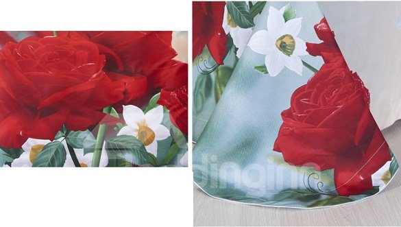 Bright Red Rose and White Flower Print 4-Piece Cotton Duvet Cover Sets