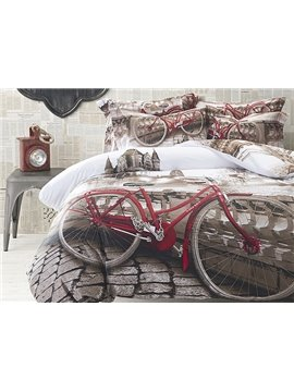 Bicycle on the Bridge Print 4-Piece Cotton Duvet Cover Sets