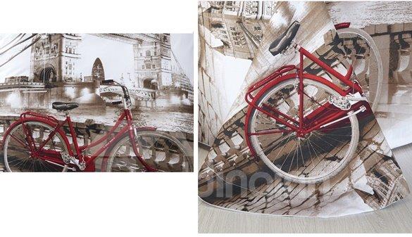 Bicycle on the Bridge Print 4-Piece Cotton Duvet Cover Sets