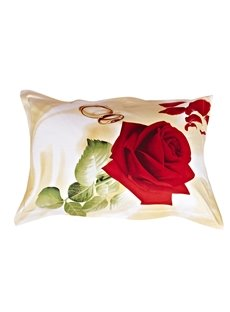 Romantic Style Bright Love Rose One Pair Cotton Pillowcases