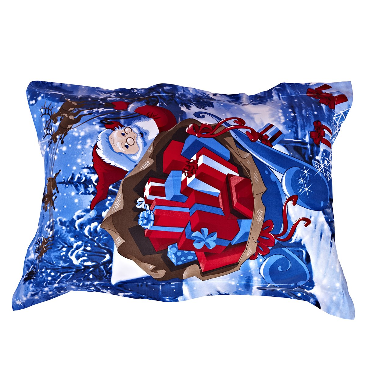 Christmas Gift Red Santa Claus Reactive Print One Pair Cotton Pillowcases 11349990