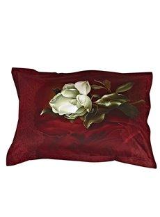 Retro Fashion White Flower Print One Pair Cotton Pillowcases