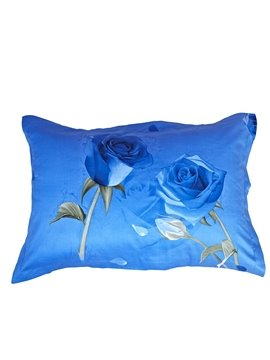 Luxury Blue Roses Print One Pair Cotton Pillowcases