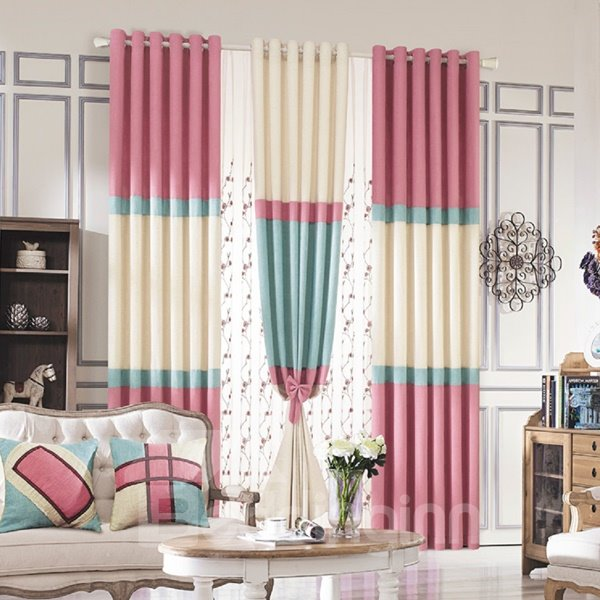 High Quality Concise Thick Linen Grommet Top Curtain
