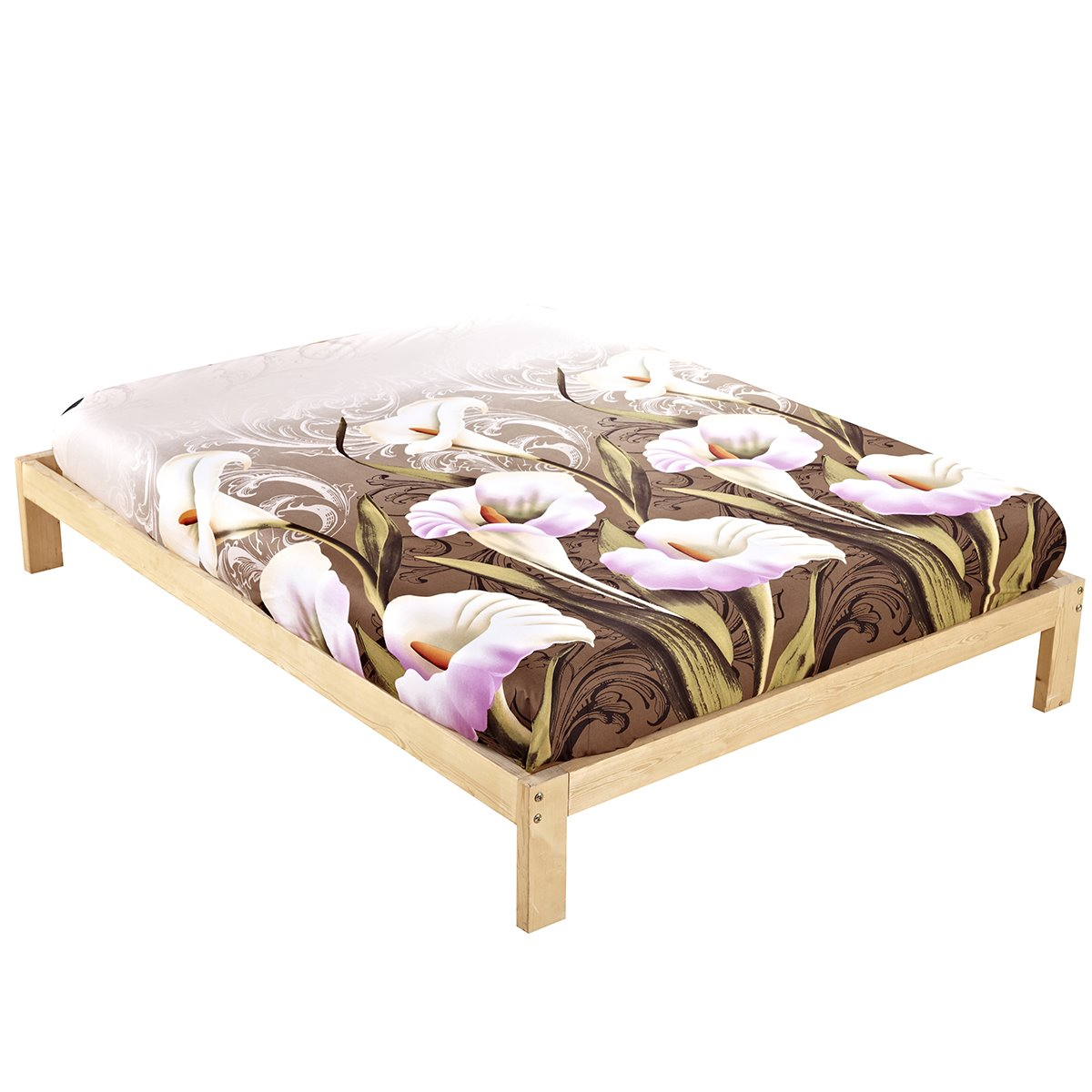unique calla lily print 4 piece camel bed sheets sets