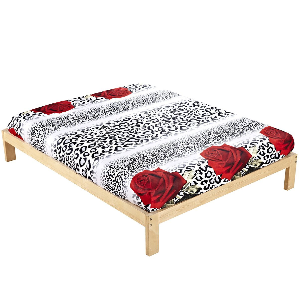 Sexy Red Rose and Leopard Print Cotton Fitted Sheet