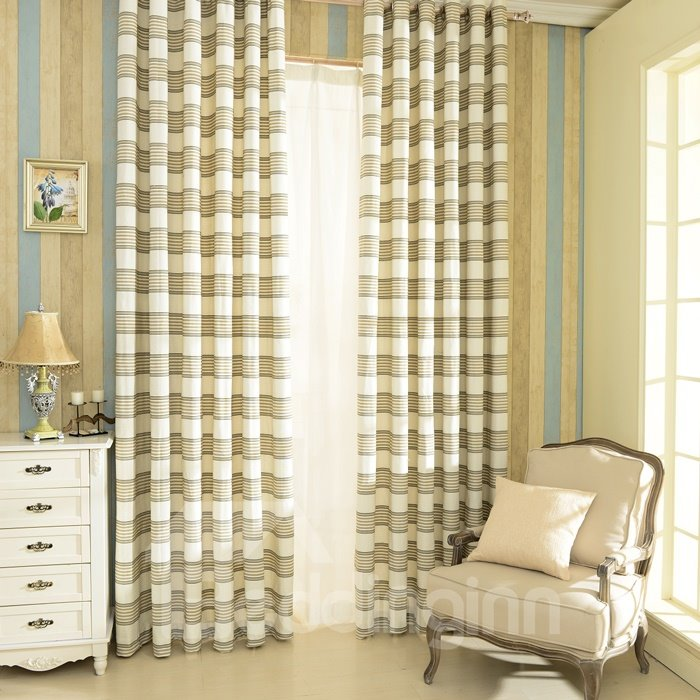 High Quality Classic Concise Check Pattern Linen Grommet Top Curtain