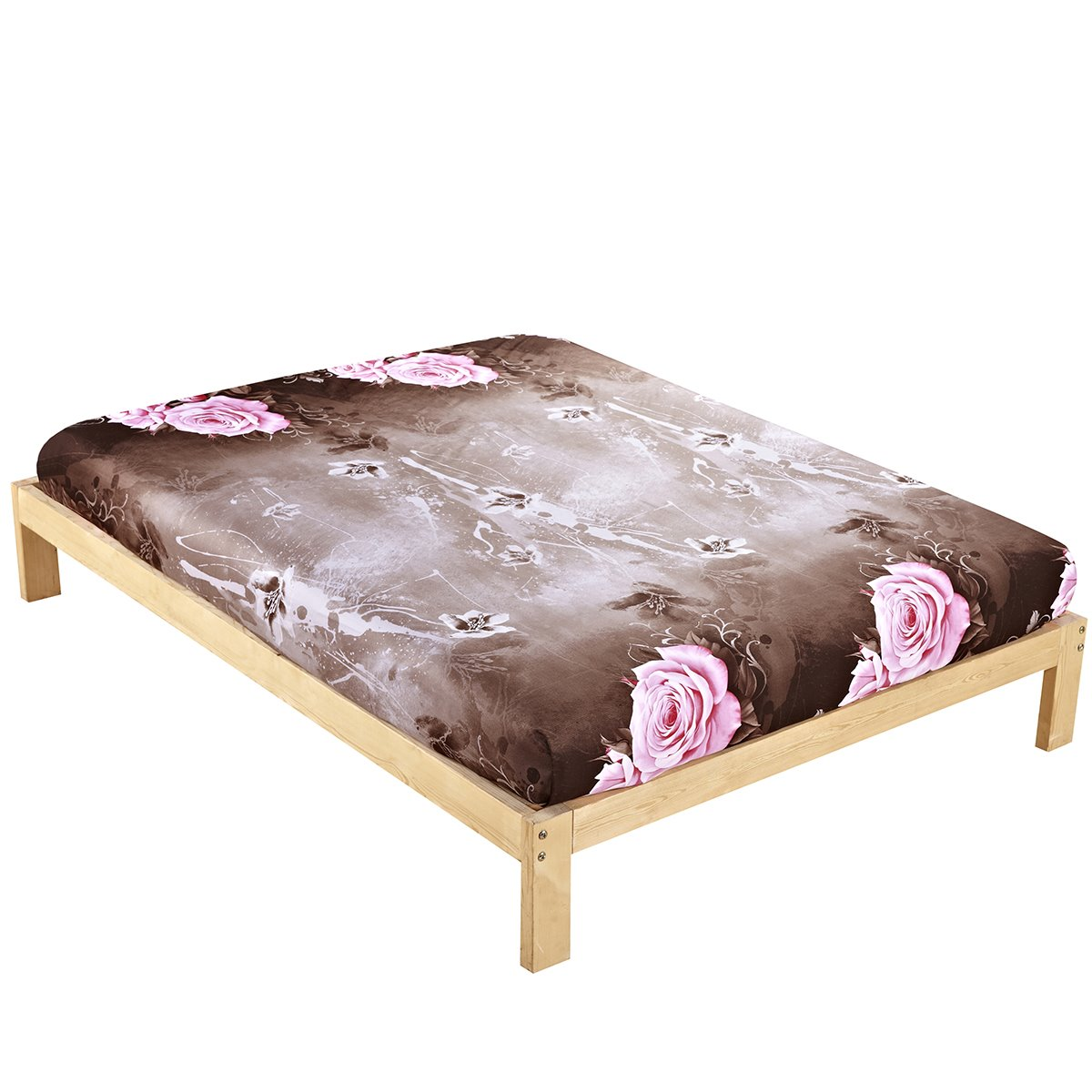 Lifelike Big Pink Roses with Brown Background Cotton Sheet