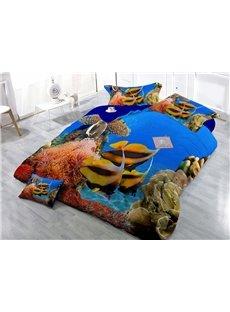 Stunning Sea World Digital Print 4-Piece Cotton Duvet Cover Set