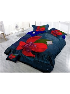 Amazing Red Flower Digital Print 4-Piece Cotton Duvet Cover Set