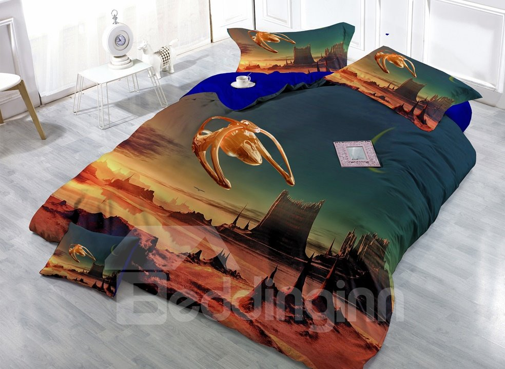 Alien Landscape Digital Print 4-Piece Cotton Duvet Cover Set 11350493