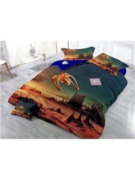 Alien Landscape Digital Print 4-Piece Cotton Duvet Cover Set