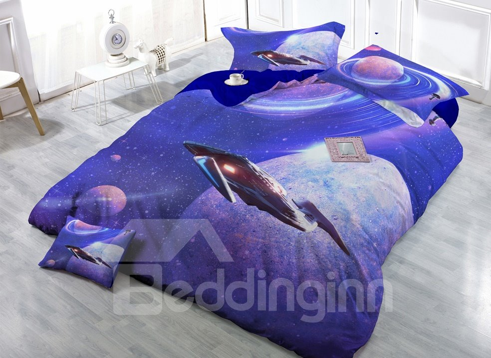 Interstellar Travel Digital Print 4-Piece Cotton Duvet Cover Set 11350503