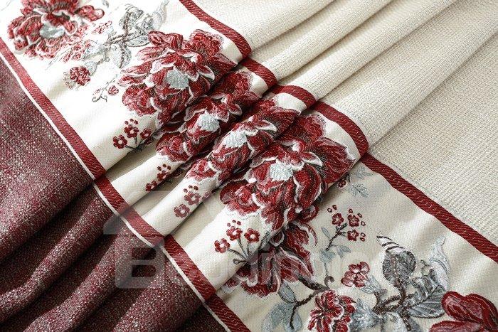 New High Class Gorgeous Stitching Linen Grommet Top Curtain