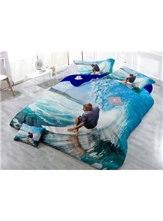 Desert Cool Surfing Digital Print 4-Piece Cotton Duvet Cover Set