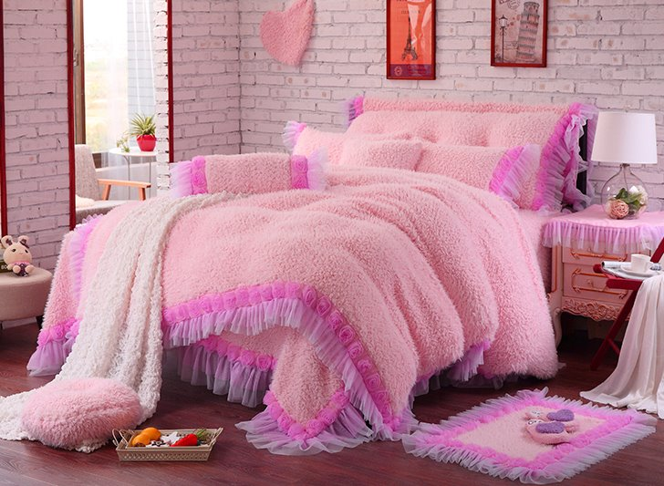 Rose and Lace Edging Pink 4-Piece Coral Fleece Kids Duvet Cover Sets