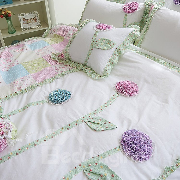 Handmade Flower Embroidered 4-Piece Cotton Kids Duvet Cover Sets