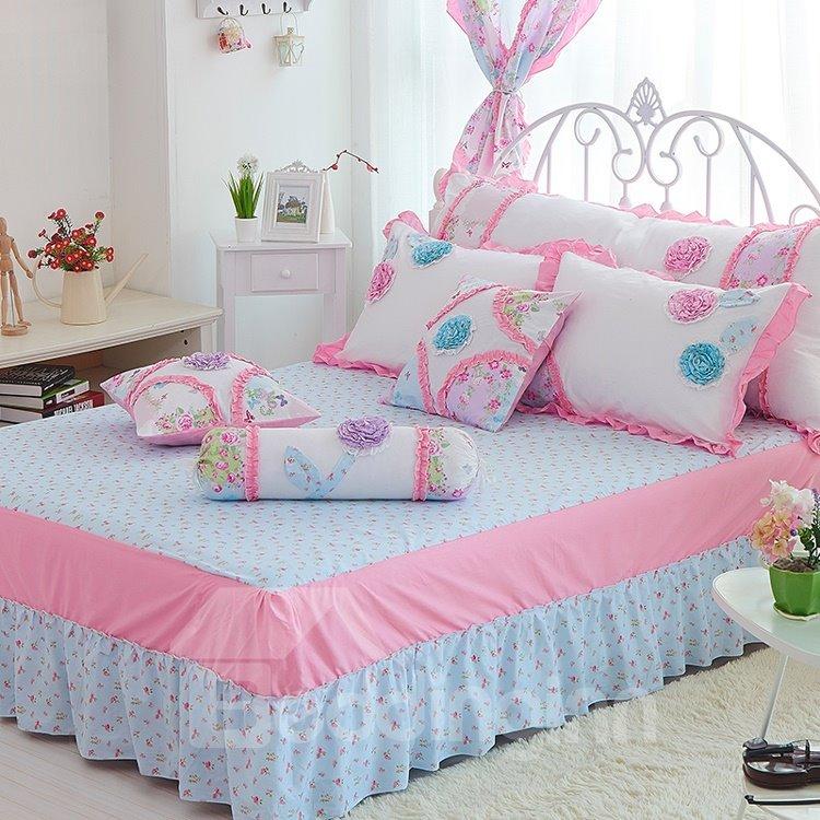 Handmade Pink Flower and Butterfly Print 4-Piece Cotton Kids Duvet Cover Sets