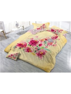 The Flowers Bloom Luxuriantly Digital Print 4-Piece Cotton Duvet Cover Set