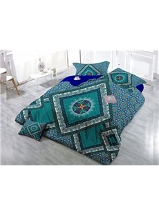 Geometric Patterny Digital Print 4-Piece Cotton Duvet Cover Set