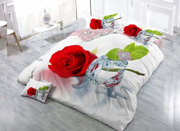 Rose Digital Print 4-Piece Cotton Duvet Cover Set 11352388