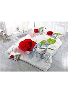 Rose  Digital Print 4-Piece Cotton Duvet Cover Set
