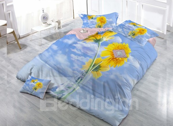 Sunflower Digital Print 4-Piece Cotton Duvet Cover Set 11352448