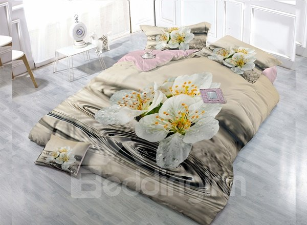 White Lily Digital Print 4-Piece Cotton Duvet Cover Set beddinginn