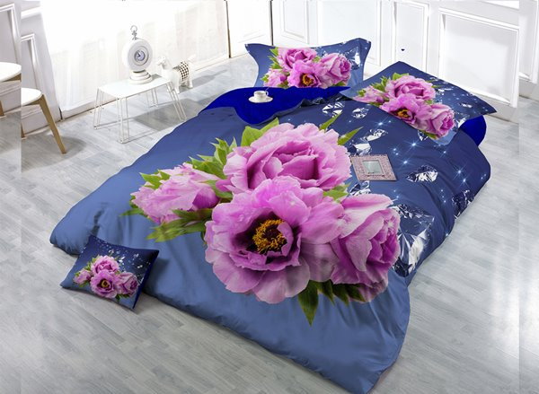 Pink Roses Digital Print 4-Piece Cotton Duvet Cover Set 11352522