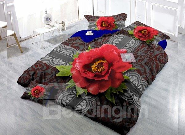 Top Grade Red Flowers Digital Print 4-Piece Cotton Duvet Cover Set