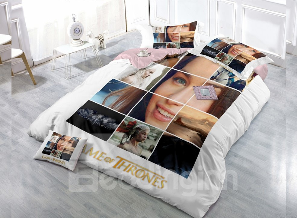 Film Fragment Digital Print 4-Piece Cotton Duvet Cover Set 11352603