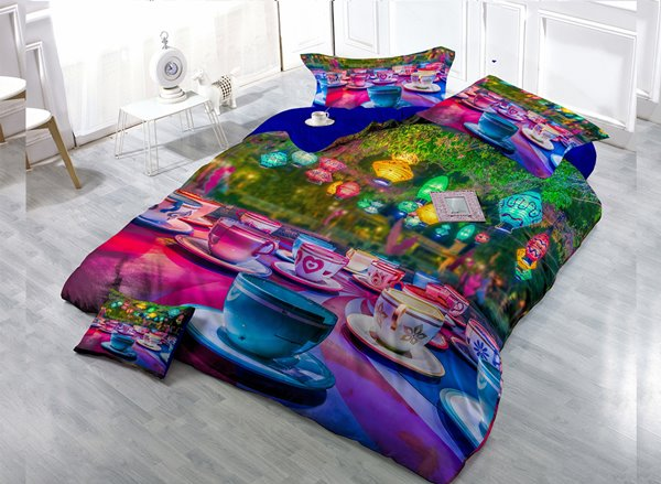 Colorful Cup Digital Print 4-Piece Cotton Duvet Cover Set 11352605