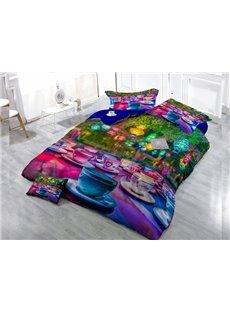 Colorful Cup  Digital Print 4-Piece Cotton Duvet Cover Set