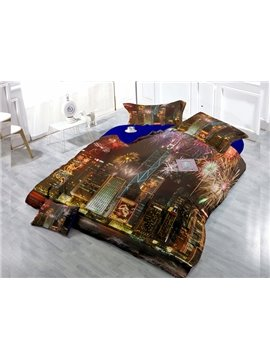 Prosperous Night Scene  Digital Print 4-Piece Cotton Duvet Cover Set