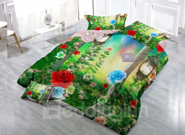 Flowers And Grass Digital Print 4-Piece Cotton Duvet Cover Set