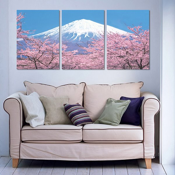 Magnificent Mt. Fuji and Sakura 3-Piece Crystal Film Art Wall Print