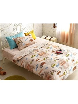 Tiny Toy Car Print 4-Piece Cotton Kids Duvet Cover Sets
