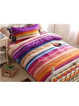 Pretty Color Stripe Print 4-Piece Cotton Kids Duvet Cover Sets