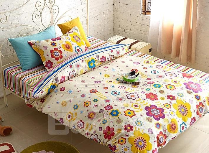 Colorful Flower Print 3-Piece Cotton Kids Duvet Cover Sets