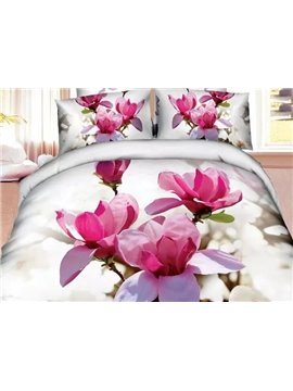 Brilliant Pink Magnolia Print 4-Piece Cotton Duvet Cover Sets
