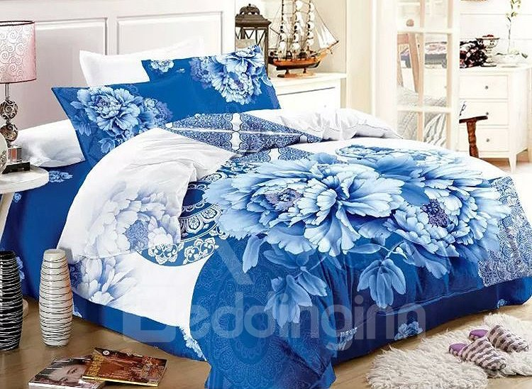 Blue and White Porcelain Print 4-Piece Cotton Duvet Cover Sets