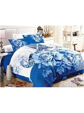 Blue and White Porcelain Print 4-Piece Cotton Duvet Cover Sets