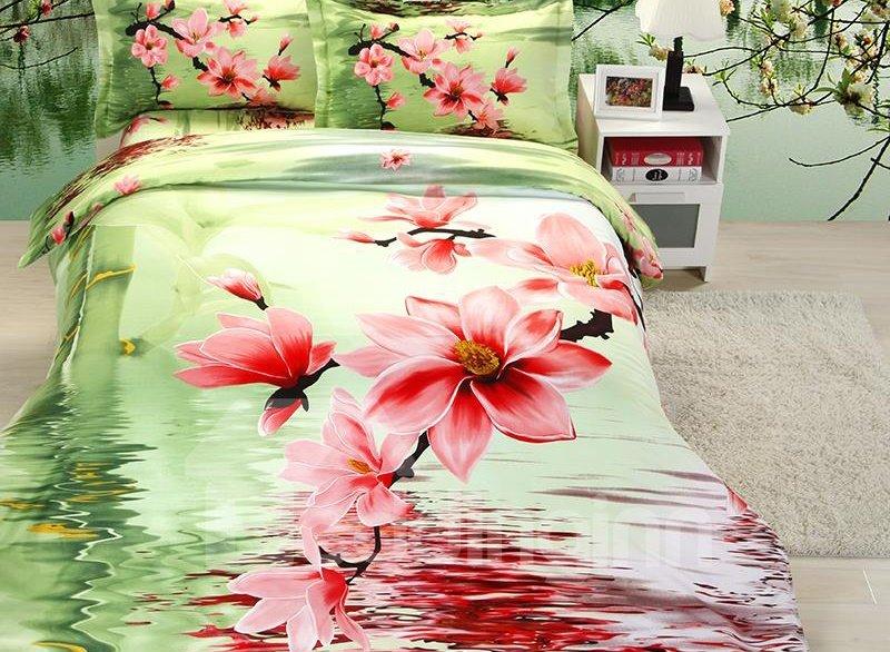 Pink Flower Print 4-Piece Polyester Duvet Cover Sets