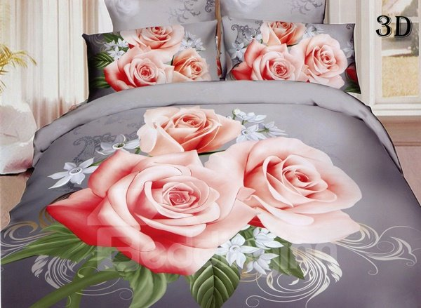 Wonderful Pink Rose Print 4-Piece Polyester Duvet Cover Sets