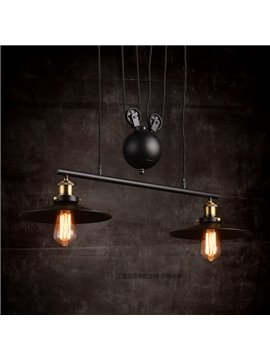 Nordic Retro Creative Umbrella-Shaped Bar Pendant 2-Head Lights
