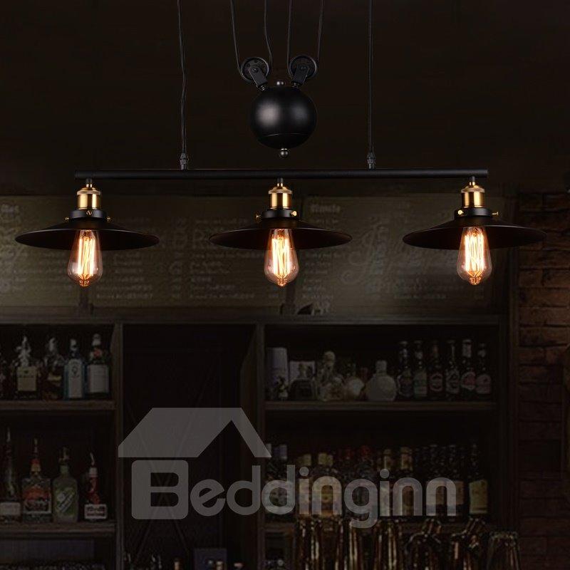 Nordic Retro Creative Umbrella-Shaped Bar Pendant 3-Head Lights